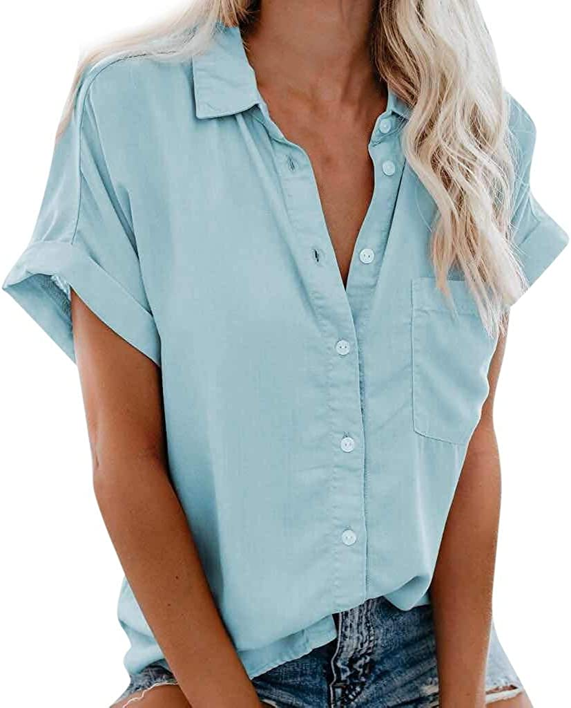 WUAI Women's Short Sleeve V-Neck T-Shirts Casual Loose Collared Button Down Work Shirts Tops with Pockets Plus Size
