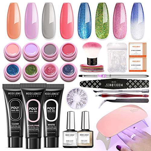 Modelones Poly Nail Gel Kit Glitter Gel Starter Kit with UV Light Now $31.49