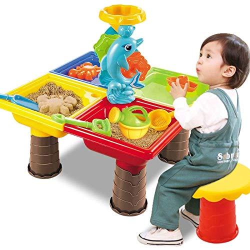 2021 Juego de mesa de juegos de arena y agua para niños, juego de arena y jardín, juego de arena al aire libre, juguete de playa de playa FDWFN (color verde militar)