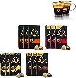 L'OR Café Espresso Ensemble pour amateurs d'espresso - Capsules de café en aluminium compatibles avec Nespresso * - 12 paquets de 10 capsules (120 boissons + 2 Tasses Espresso)