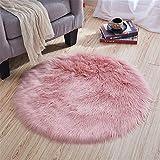 linyingdian Lammfell-Teppich Kunstfell Schaffell Imitat | Wohnzimmer Schlafzimmer Kinderzimmer | Als Faux Bett-Vorleger oder Matte für Stuhl Sofa 90cm (Rosa)