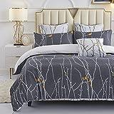 HOMTTOM Bettwäsche 135x200, Bettwäsche, Bettwäsche Sommer, Bettbezug Grau mit Verdeckter Reißverschluss und 1 Kissenbezug 80x80