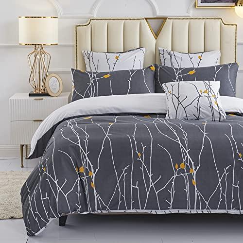 HOMTTOM Bettwäsche 155x220, Bettwäsche, Bettwäsche Sommer, Bettbezug Grau mit Verdeckter Reißverschluss und 2 Kissenbezug 80x80
