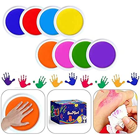 Washable Large Ink Pads Kit for Kids w//Additional Inks 12 Colors