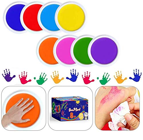 GooMart Washable Large Ink Pads for Rubber Stamps Kids 8 colors