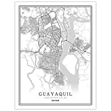 Leinwand Bild, Guayaquil Ecuador Stadtplan Poster Schwarz