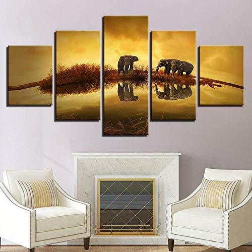 Laimi Bilder 5 Teilig Leinwandbilder Elefanten im Spiegel-reflektierten Elefanten Bild auf Leinwand Wandbild Kunstdruck Wanddeko Wand Wohnzimmer Wanddekoration Deko Panorama Stadt Mit Holzrahmen