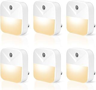 BohoJoc 6PCS LED Night Light Plug in with Dusk to Dawn Smart Sensor, Soft Warm White Night Lights, Plug into Wall Nightlig...