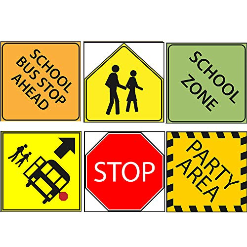 "School Bus Party Sign 6"" Cutouts, School Bus Party Decorations, School Bus Party Supplies, Room Decorations, Party Signs"