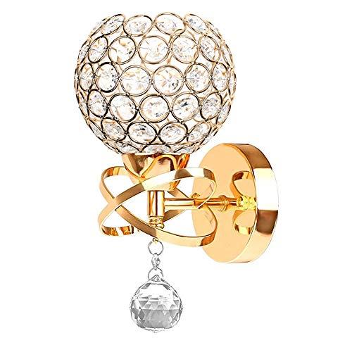 Moderne Stil Kristall Anhänger Wandleuchte Schlafzimmer Gang Wohnzimmer Diele Wandleuchte Halterung E14 Sockel, Birne nicht enthalten(Gold)