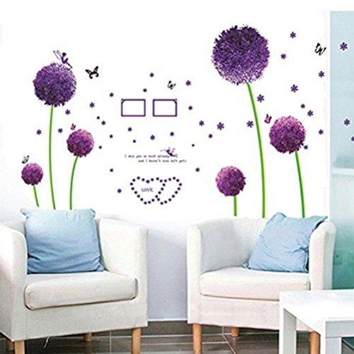 Wall Sticker, DDLBiz Adesivi Murales, Carta da Pareti 'tarassaco viola' Decorazione Murali da Parete