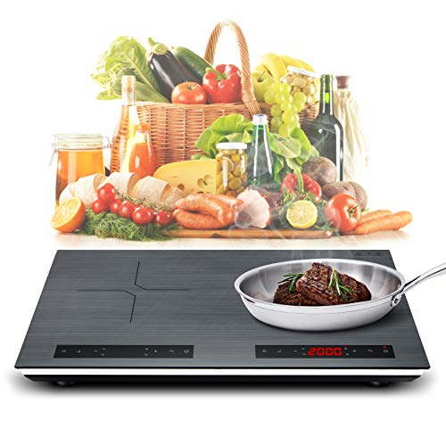Portable Double Induction Cooktop 2000W 120V Energy-saving Electric Cooktop withl Sensor Touch Screen Control and Kids Safety Lock, 9 Power Levels, 180 Mins Timer Dual Induction Countertop Burner Suitable for Magnetic Cookware