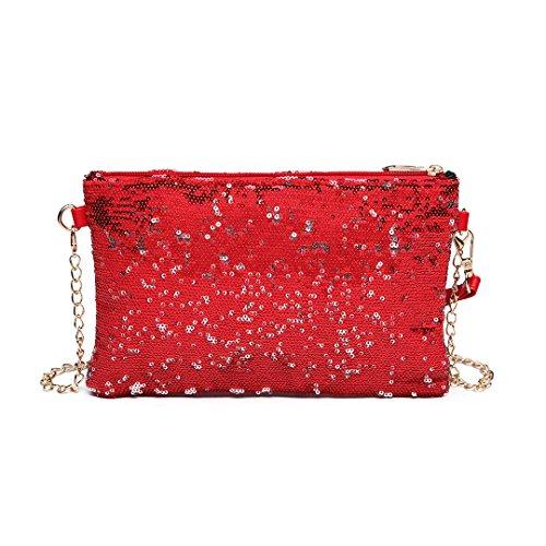 Miss Lulu Damen Handtasche Clutch Bag Unterarmtasche Party Hochzeit Abendtasche Kettentasche Umhängetasche glitzernd (LH1765-Rot)