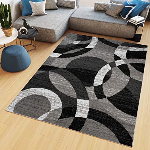 TAPISO Maya Tappeto Salotto Moderno Soggiorno Grigio Nero Geometrico Astratto A Pelo Corto 140 x 200 cm