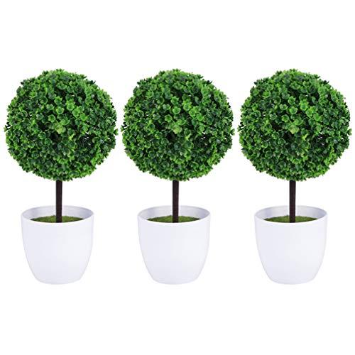 Veemoon 3 Unids Artificial Topiary Ball Árboles Boj Topiary Tree Plantas Artificiales en Macetas Bosai Plantas en Macetas para Dormitorio Oficina Hogar Balcón Decoración de Jardín