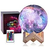 3D Galaxy Moon Lamp by Mind-glowing - Cool Kids Galaxy Moon Night Light (Standard, 4.7in) with 16 LED Colors, Touch & Remote Control, Wooden Stand - Unique Gift for 3 4 5 6 7 Year Old Girls & Boys