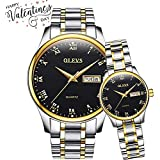 OLEVS His and Hers Wrist Watches for Couple Pair Quartz Watches Luminous Calendar Date Window 3ATM Waterproof Casual Stainless Steel His and Hers Wristwatch for Men Women Couple Watches Gift Set of 2