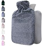 Qomfor Hot Water Bottle with Soft Cover - 1.8L Large - Hot Water Bag for Pain Relief, Neck and Shoulders, Feet Warmer, Menstrual Cramps, Hot and Cold Therapy - Great Gift for Women - Dark Grey