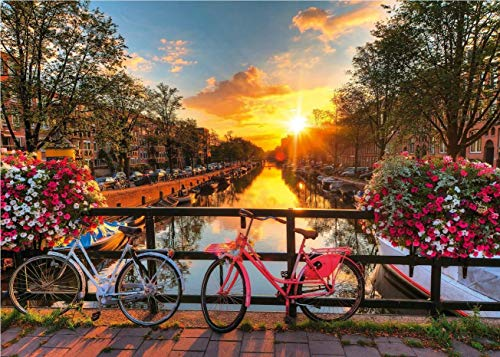 kunyuancb Rompecabezas para Adultos 500 Piezas El Patrón De Paisaje De Bicicleta En La Puesta De Sol En Amsterdam Es Un Buen Regalo para La Elección De Decoración del Hogar De Amigos