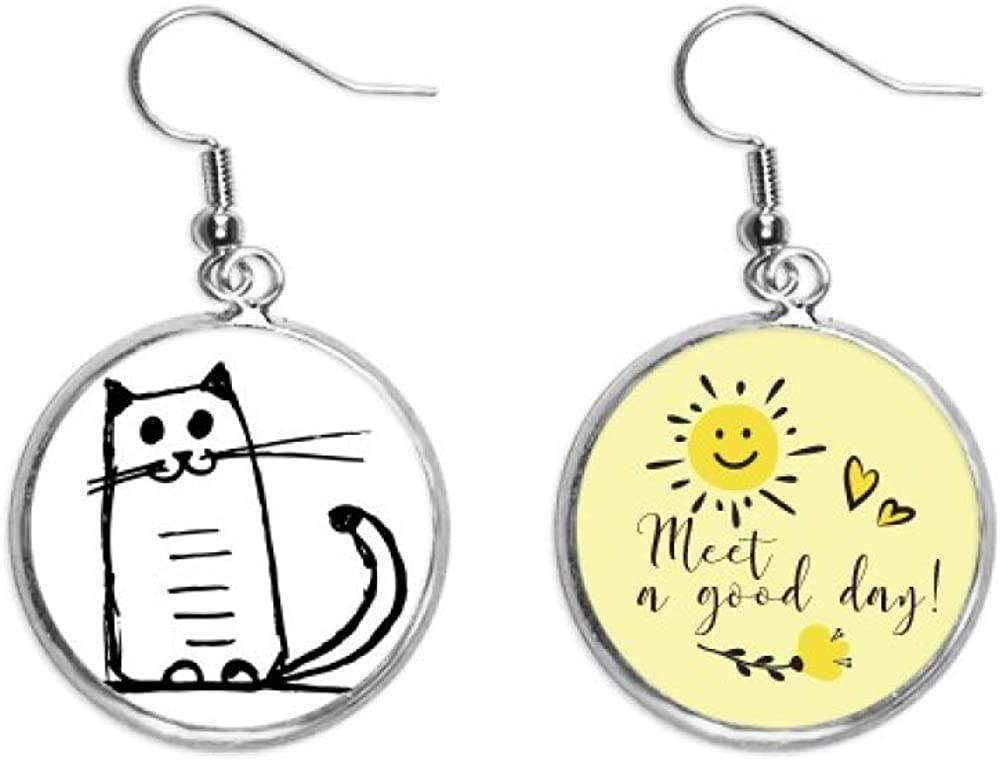 Cat Smile Sit Black Line Ranking TOP9 Art Sales of SALE items from new works Deco Drop Gift Ear Fashion Sun Flow