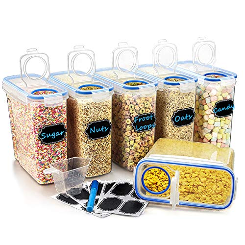 Wildone Plastic Cereal Containers Set | 6 Large (16.9 Cups, 135.3oz) Airtight Food Storage Containers - Leak-proof, BPA Free Cereal Dispenser | Flour, Sugar, Dry Food Storage Containers with Blue Lids