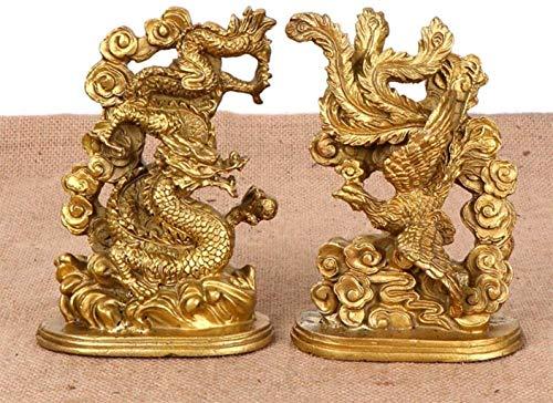 Equipo de Vida Feng Shui Bronce Dragón y Fénix Decoración Estatua Yin y Yang Armonía Escultura Matrimonio Regalo de Boda Decoración para el hogar Bronce