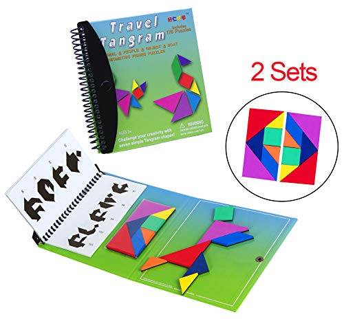 USATDD Travel Tangram Magnetic Pattern Block Book Road Trip Game Puzzle Shapes Puzzle Dissection STEM Brain Teasers Challenge IQ Educational Montessori Toy for Baby Toddlers 【2 Set of Tangrams】