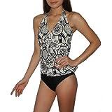 2PC SET bademoden: Damen Lascana komfortabel und Weich, oben und unten feuchigkeitstransportierendem surfen Tankini Badeanzug (Größe: XL)