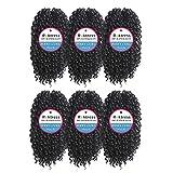 Roktress Jerry Curl Marley Hair Marley bob crochet braids afro kinky curly hair crochet braiding hair synthetic hair extension (11'6pcs, 1B#)