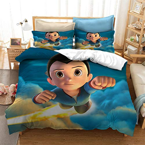 Enhome 3D Bedding Set - Printed Quilt Cover with Zipper Closure + Pillowcases, Microfiber Duvet Cover Set Easy Care for Children Teen Adult Single Double King Bed (Astro Boy 1,180x210cm)