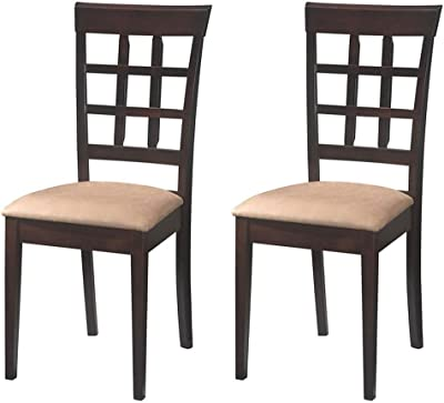 c4a47eab50d1 Coaster Home Furnishings Wheat Back Dining Room Chair w/Fabric Seat (4 Pack)