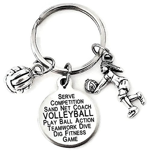 Volleyball Keychain, Volleyball Charm Keychain, Volleyball Coach Keychain, Sports Keychain, Volleyball Gift, Volleyball Coach Gift, Volleyball Key Ring