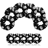 12 Pieces Volleyball Sport Hair Scrunchies Volleyball Sport Hair Ties Silk Satin Elastic Scrunchies Hair Bands Ponytail Holders for Players Teams Gifts (Black)