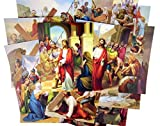 Catholic Religious Gifts Stations of The Cross Illustrated Cardstock 14 Picture Set, 8 Inch