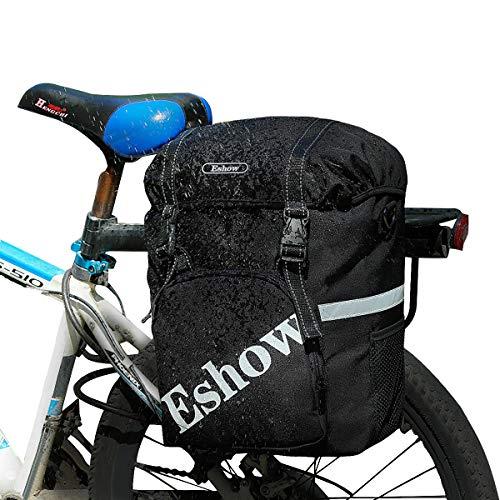 Eshow 18L Alforjas para Bicicleta Sillín Bolsa con Cubierta Impermeable Asiento Trasero de Portaequipajes Montaña Cycling Ciclismo Viaje Negro