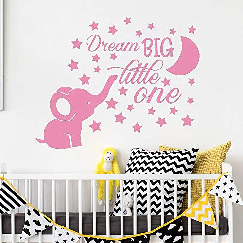 Wall Stickers Elephant Nursery Wall Decal Baby Boy Room Decor Dream Big Little One Quote Wall Vinyl Stickers Moon and Stars Decals Kids Pink 52x42 cm