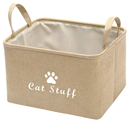 Pethiy - Cesta de lona para gatos, juguetes para gatos, mantas para gatos, mantas para gatos, 38 x 27 x 25 cm, para gatos