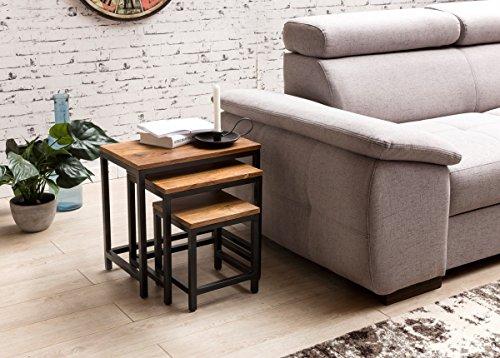 Ensemble de 3 Table de Chevet Design Tables gigognes Akola shisham Jambes métalliques   Napperon 3 Morceaux de matériaux   Table Basse en Bois Massif
