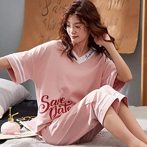JFCDB Nachthemd Zomer Pyjama Voor Vrouwen Korte Tops Kuitlengte Broek Katoen Casual Losse Zachte Dames Pyjama Sets, ALS2823, XXL
