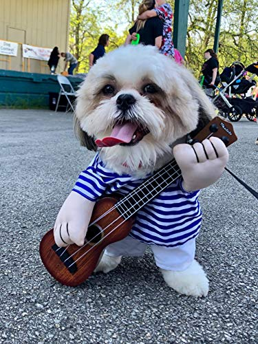 YOUDirect Guitar Dog Dress Puppy Halloween Costume Cat Christmas Cosplay Funny Apperal for Small Dog Cat Puppy Pet (M)