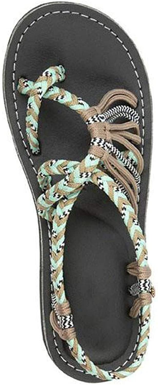 Jun Womens Sandals Flat Bohemia Style Gem Owl Beaded Clip Toe Flip Flop Casual Summer shoes (color   Beige, Size   8.5 M US)