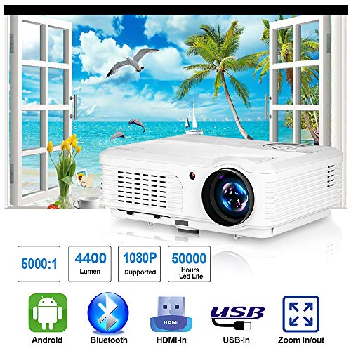 CAIWEI Proiettore HD Video Home Theater TV, Android WiFi Bluetooth Proiettore 4200 Lumen 200 '' Max per giochi cinematografici, Ventilatore silenzioso, Altoparlante integrato con porte AV USB HDMI VGA