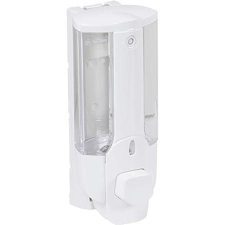 axentia Distributeur de Savon Liquide 380 ML, Distributeur de Savon Rechargeable en Plastique, env. 7,5 x 19 x 8,5 cm, Blanc / Transparent