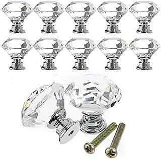 AloPW Glass Cabinet Knobs 30mm Sale Transparent Crystal Glass Diamond Knob Gold Base Metal Accessories Furnituree Drawer Cabinet Handle