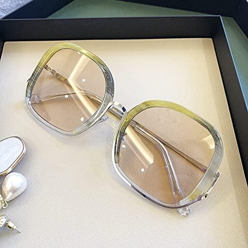 DAIDAICDK Gafas de Sol Redondas de Gran tamaño para Mujer Gafas de Sol con Montura metálica Gafas UV400 Accesorios para Coche al Aire Libre