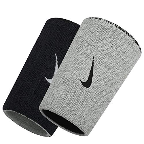 Nike Dri-Fit Home & Away Doublewide Wristbands (1 Pair, One Size Fits Most, Black/Base Grey)