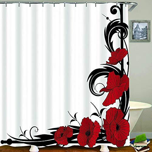 AXEDENRRT Polyester Duschvorhang Set mit 12 Kunststoffhaken,Rote Dahlie Trompete Blumenstickerei Zeichnung Tattoo Zeichnung,Dekorative wasserdichte Badvorhänge 72x72 Zoll