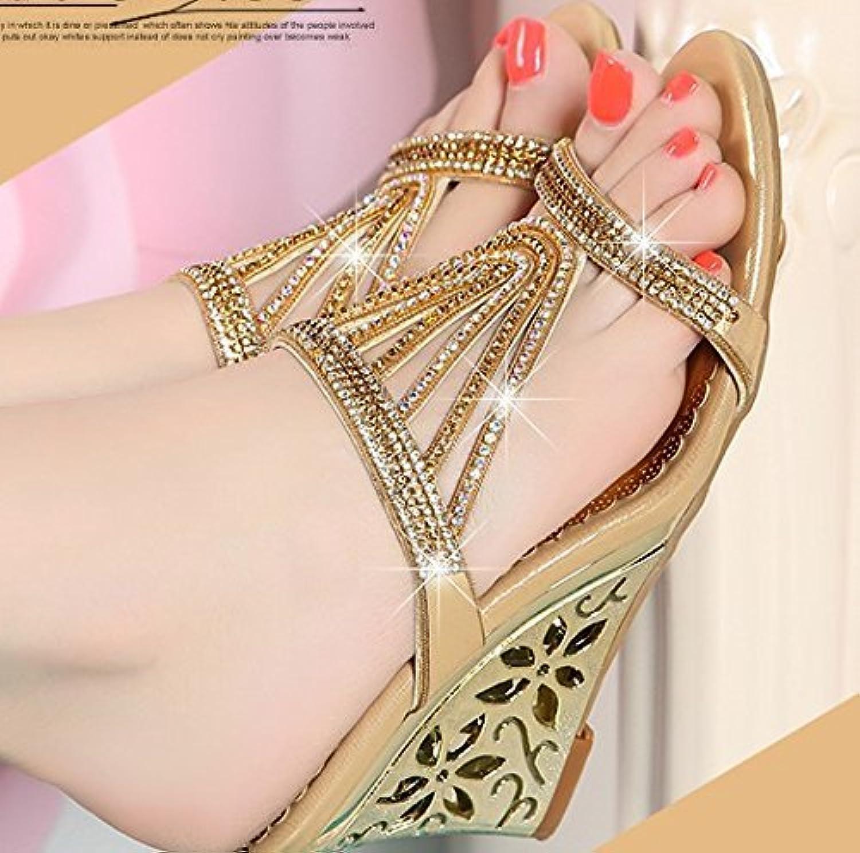 Yingsssq Damen-Flip-Flops Kunstdiamant High Heel Kunstleder Slope (Farbe   Golden, Gre   7.5 US 38 EU 5 UK)