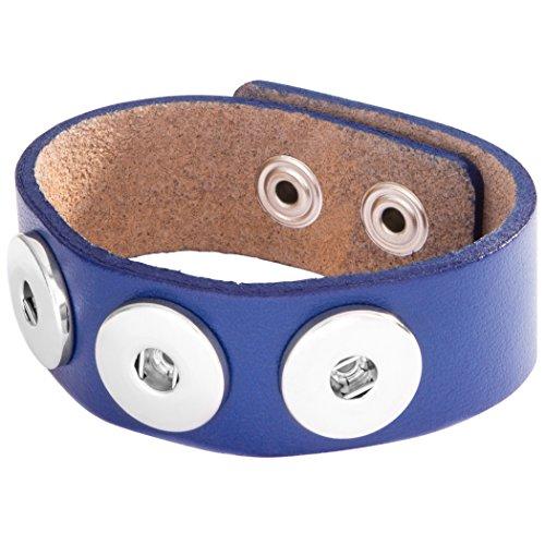 Berydale Damen-Armband Leder 24 cm, blau - BD224-160