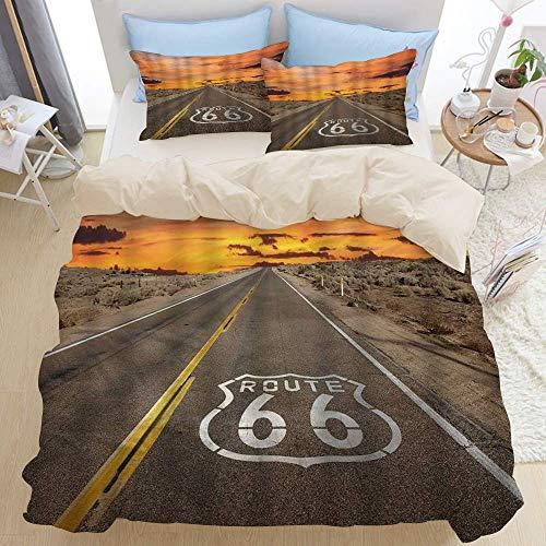 Juego de ropa de cama premium de 3 piezas, pavimento de la ruta 66 de la autopista al amanecer, desierto de Mojave de California, amanecer, atardecer, moderno juego de funda nórdica con cremallera de